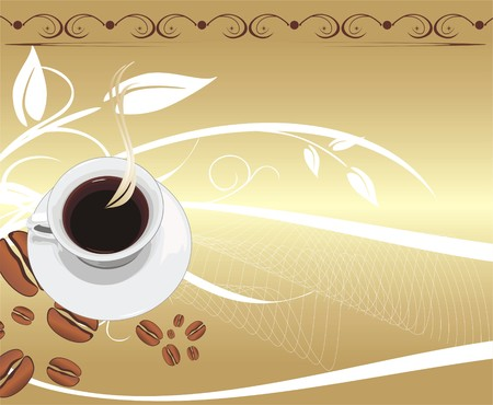 Cup with coffee on the abstract background. For wrapping. Vector