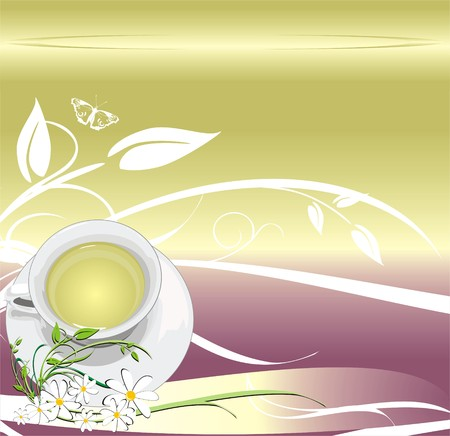 saucer: Cup with tea. Abstract background for wrapping. Vector Illustration