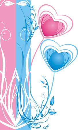 balloon bouquet: Two hearts. Floral decorative background for card. Vector