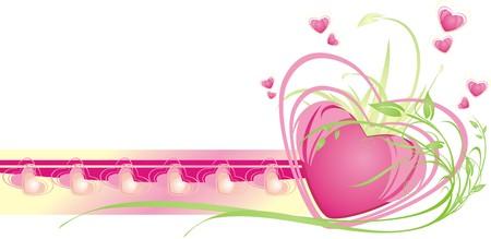 Hearts. Floral decorative frame for card. Vector Иллюстрация