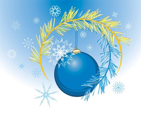 put: Snowflakes and Christmas ball. Holiday background. Vector
