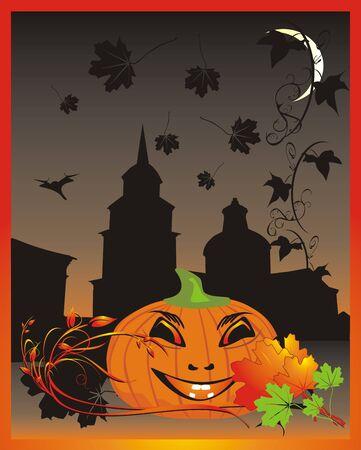 deliciously: Pumpkin. Halloween. Decorative card. Vector