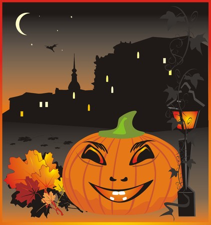 Pumpkin. Halloween. Holiday background for card. Vector Vector