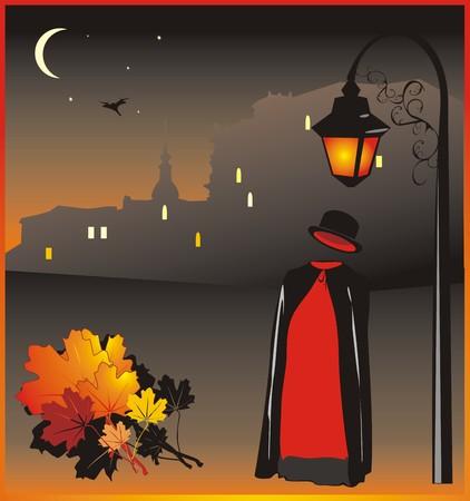 Hombre invisible en el fondo de la noche la ciudad. Vectores