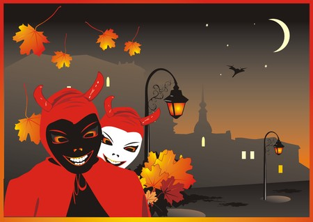 Devils on the background of nightly city. Vector Vector