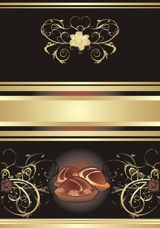 Abstract background for wrapping. Chocolate candies. Assortment. Vector Vector