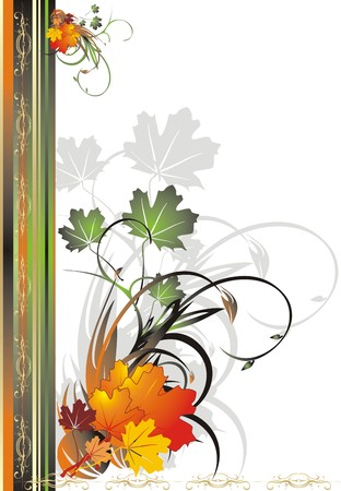Foliage of maple. Autumn decorative frame for card. Vector Vector