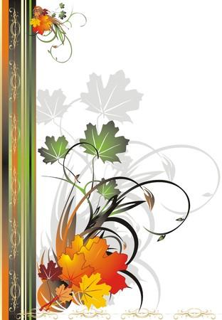 Foliage of maple. Autumn decorative frame for card. Vector Stock Vector - 3679108