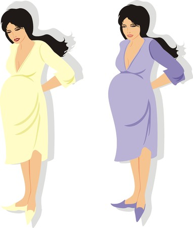 stomach ache: Expectant mothers. Vector Illustration