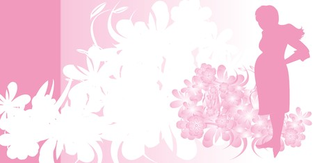 Silhouette of expectant mother. Background for card. Vector Vector
