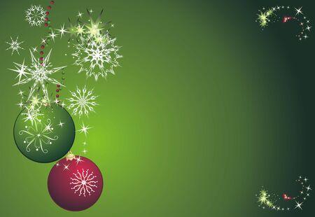 Stars, snowflakes and balls. Christmas card. Vector Vector