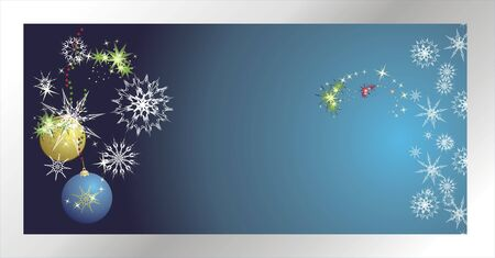 Stars, snowflakes and balls. Christmas banner. Vector Vector