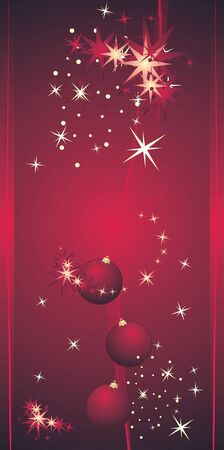 put: Stars and Christmas balls. Background for card. Vector Illustration