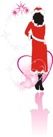 Girl and hearts. Romance composition. Vector Vector