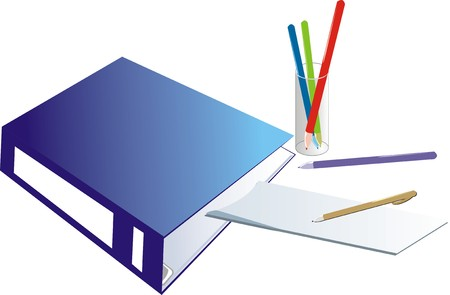 Folder-binder and glass with pencils. Vector Vector