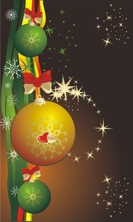 Colorful balls and snowflakes. Background for card. Vector Vector