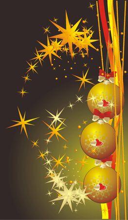 Yellow Christmas balls. Background for card. Vector Vector