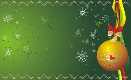 Ball and snowflakes. Christmas banner. Vector Vector