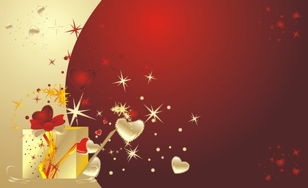 Decorative box for a gift to the Valentine day. Background for card. Vector Vector