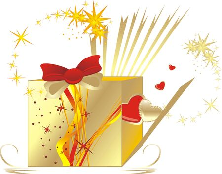 Decorative box for a gift to the Valentine day. Vector Vector