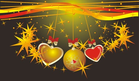 Christmas ball and colorful hearts. Background for card. Vector Vector