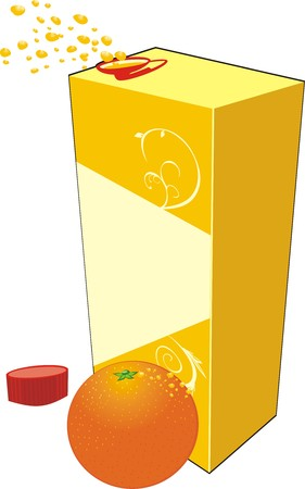 Orange and opened packing with juice. Vector