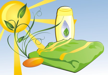 Shampoo, soap and towel. Composition for card. Vector Vector