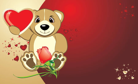 Bruin with a heart. Background for card to the Valentine day. Vector