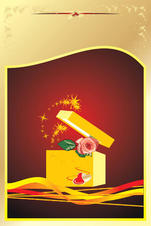 Rose in a gift box. Background for card. Vector Vector