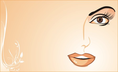 Fragment of womanish face. Background for card. Vector