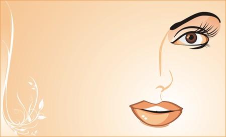 Fragmento de womanish cara. Antecedentes para la tarjeta. Vector