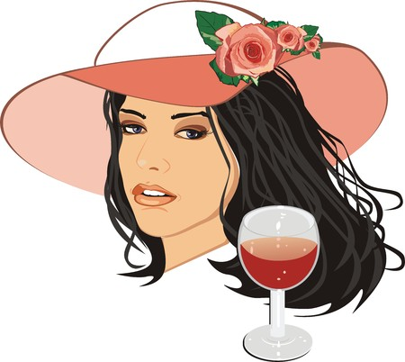 cilia: Beautiful woman in a hat with glass of wine. Vector