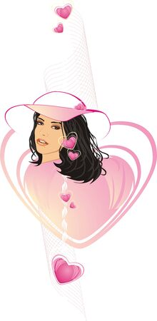 cilia: Beautiful woman in a hat among hearts. Vector