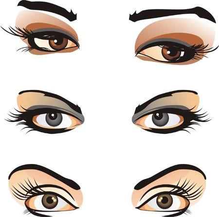 eyebrow makeup: Frammento di volto femminile. Contesto di carta. Vector