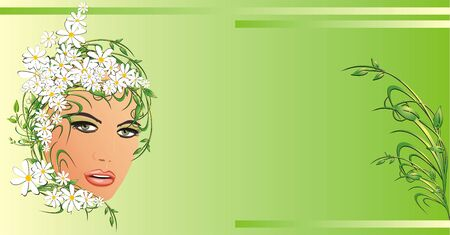 Abstract portrait of beautiful woman with chamomiles. Background for card. Vector Vector