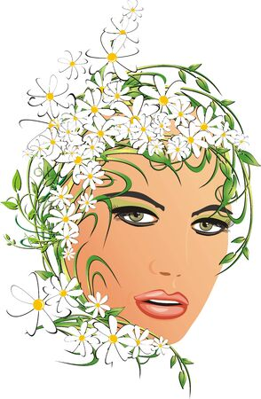 Abstract portrait of beautiful woman with chamomiles. Vector Vector