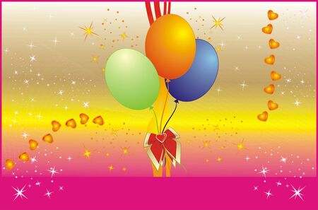 Colorful balloons and hearts. Background for card. Vector Vector