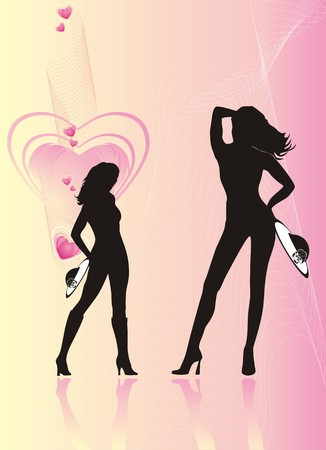 Silhouettes of women with hats. Romance composition. Vector Stock Vector - 4233725