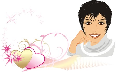 cilia: Portrait of beautiful woman among hearts. Composition for card. Vector