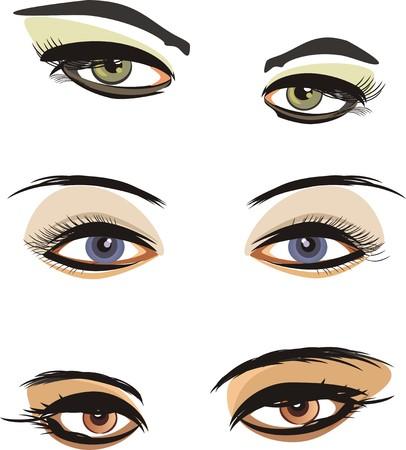 fashion item: Three female looks. Vector Illustration
