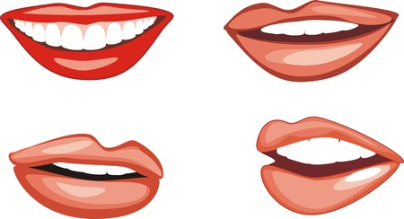 Four female smiles. Vector Vector
