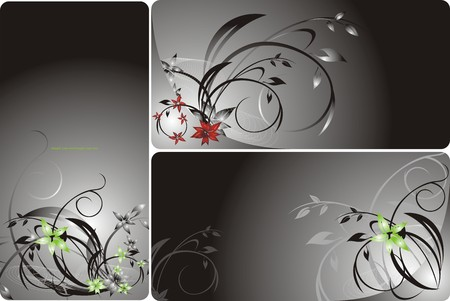 Set of floral backgrounds for card. Vector Vector