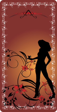 Silhouette of girl with cup of coffee on the decorative floral background. Vector Vector