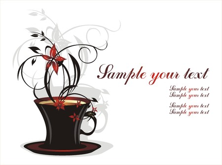 food and drink holiday: Cup with coffee and bouquet of flowers. Vector Illustration