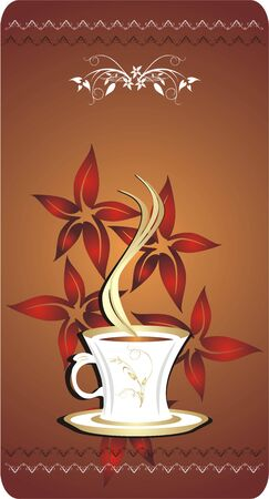 Cup with coffee. Blank for card. Vector Vector