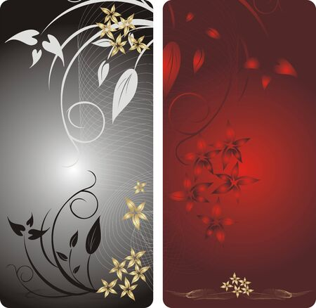 Flowers. Decorative backgrounds for two card. Vector Vector