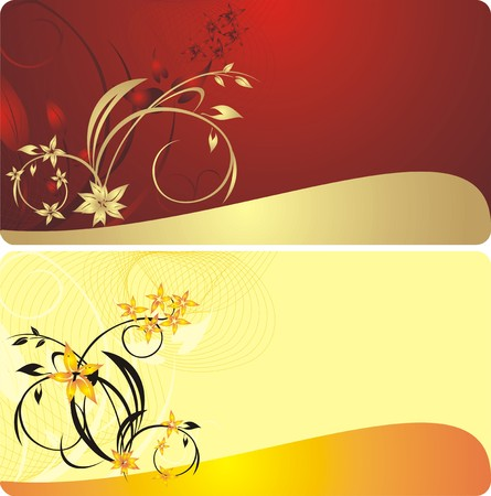 Bouquets of flowers. Decorative background for two cards. Vector Vector