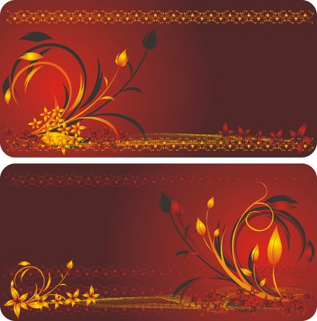 Bouquets of flowers. Decorative floral background for two cards. Vector Vector
