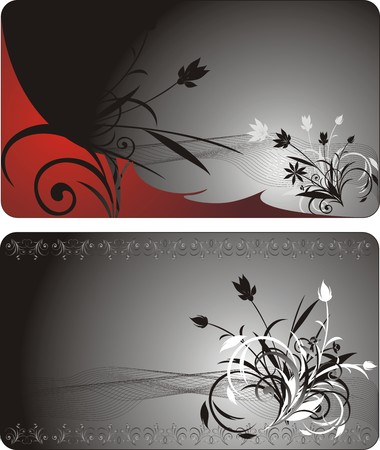 Bouquets. Decorative floral background for two cards. Vector Vector