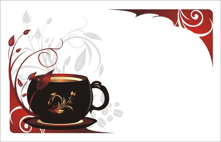 Cup with coffee and sprigs. Floral background for card. Vector Vector